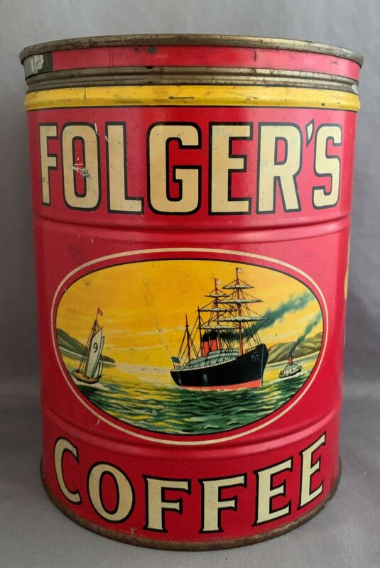 Vintage FOLGERS Coffee 2 Pound Size Tin Can Copyright 1931 Ship Design