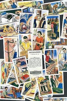 "BT B.T. TEA 1962 SET OF 25 ""OCCUPATIONS"" WORK JOBS TEA CARDS"