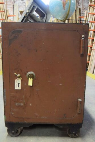 "Large Vintage Safe with Wheels 50"" x 34.5"" x 28"""