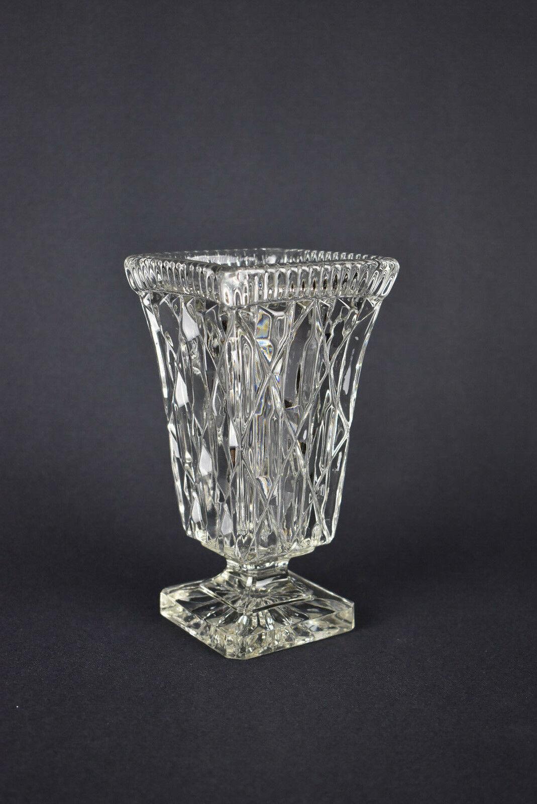 Vintage Czech / Bohemian Cut Crystal Glass Pedestal Vase