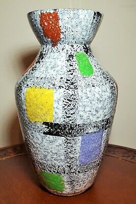 West Germany Mid-Century Fat Lava Checked Vase 607-25-Mint