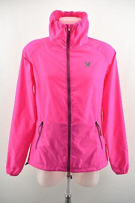 KARI TRAA Womens Lightweight Jacket Zip Neck Pink Thin Coat Size L