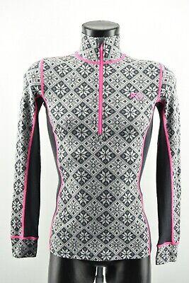 Kari Traa Women`s Shirt Half Zip Neck Top Warmer Merino Wool Long Sleeve size S