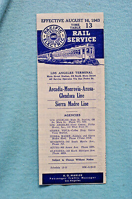 Pacific Electric Pocket Time Table - #13, Arcadia-Monrovia, 8/16/43