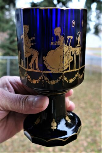 Imperial Russian Cobalt Blue Glass Goblet, Ca.1800-1840, Fine Condition!