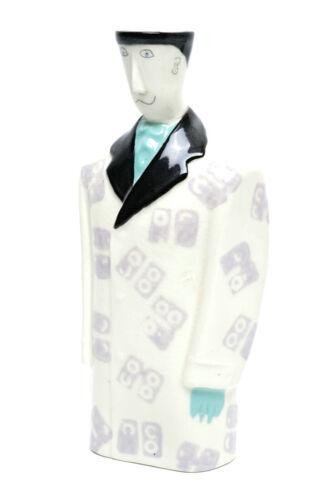 Male Figurine in Formal Overcoat Vintage Handpainted Porcelain Bud Vase Humorous