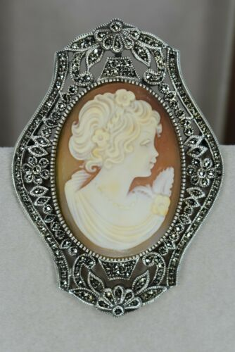 Large Sterling Silver Marcasite Conch Shell Cameo Pendant/Pin - Estate