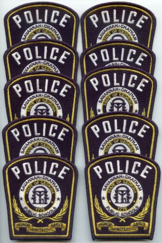 SAVANNAH CHATHAM GEORGIA Trade Stock 10 Police Patches SCHOOL POLICE PATCH