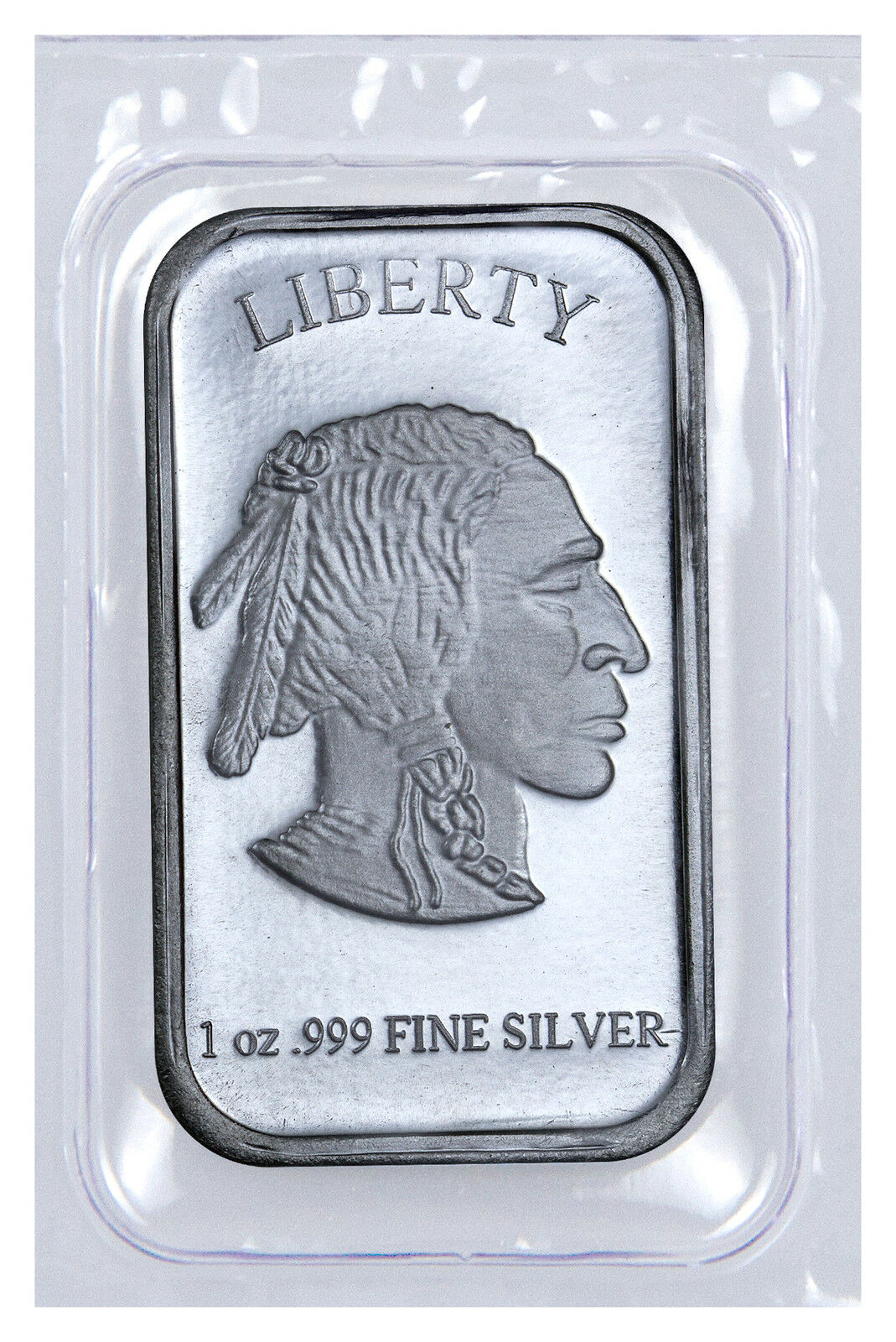 1 Troy Oz .999 Fine Silver Buffalo Liberty Bar (Sealed in Plastic) SKU40117