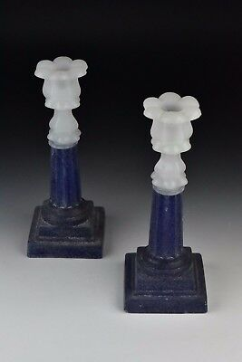 Pair of 19th Century Boston Sandwich Clambroth Glass Candlesticks