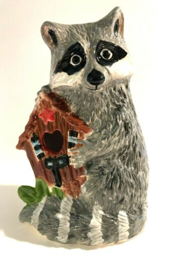 "Ceramic Raccoon Figurine, Hand Painted Battery Light Holder 8.25"" Tall CUTE!"