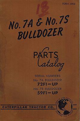 Caterpillar Vintage 7a 7s Bulldozers Parts Catalog Manual