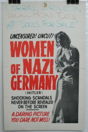 Vintage Orig 1962 WOMEN OF NAZI GERMANY aka HITLER 14x22 Window Card POSTER Rare