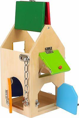 Schlosshaus aus Holz Motorik Geschicklichkeitsspiel ca. 15x15x28 cm ab 3 Jahre