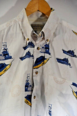 Crossings Men's Sport Shirt- Boat & Sail Fish - White Button Down - Sz M