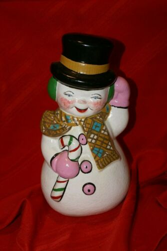 "Vintage Atlantic Mold 12"" Ceramic Hand Painted Snowman With Cane"