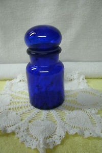 Apothecary Bubble Lid   Bottle/Jar  *Colbolt Blue* Belgium--Vintage Original