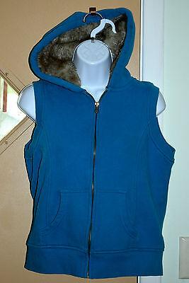 Old Navy Hooded Vest (Old Navy Vest Full Zip Faux Fur Hood Women Sz M Dark Teal Good)