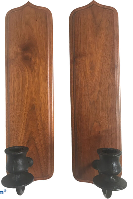 2 Vintage Handcrafted Wood Walnut Candle Wall Sconces Mid Century Modern USA MCM
