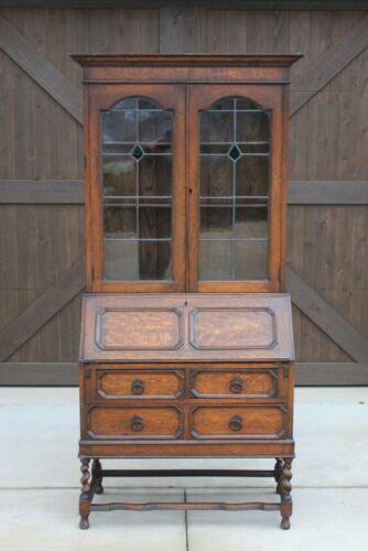 Antique English Secretary Desk Bookcase Fall Front Stained Glass BarleyTwist Oak