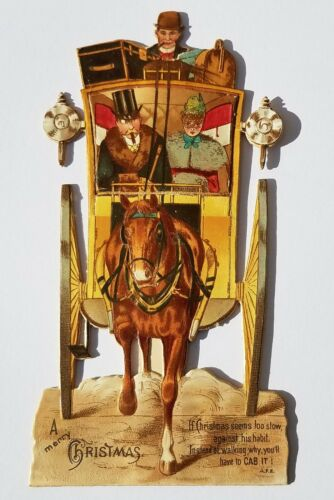 Antique Victorian Diecut MOVABLE CHRISTMAS CARD Horse Carriage Stagecoach Vtg