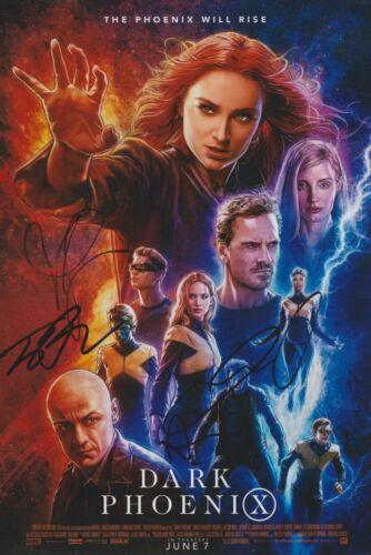 X-Men: Dark Phoenix Multi-Signed 12x8 Photo AFTAL *SIGNED BY 4*