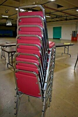 8 Red Stacking Cushion Chairs Local Pick Up