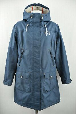 KARI TRAA Womens Long Jacket Blue Outdoor Windproog Hooded Coat Size XL