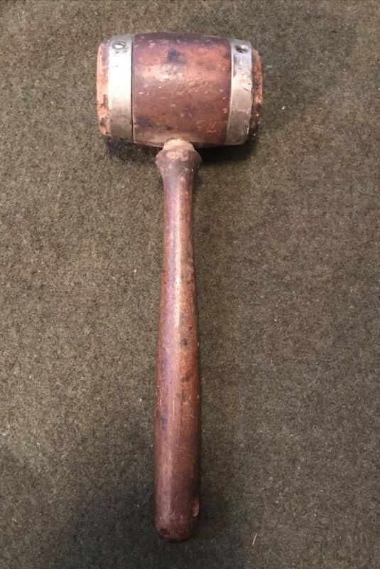 """Vintage Wooden Mallet Auctioneers Hammer  Judges Gavel 9"""" Metal Rings"""