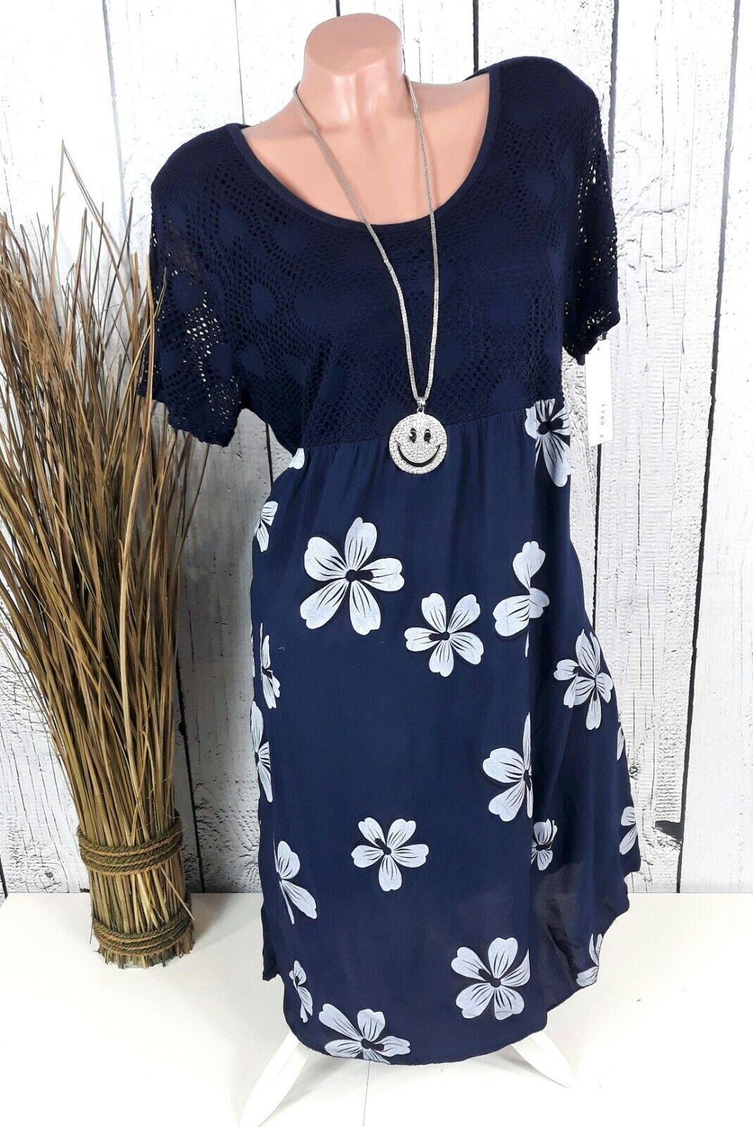 Italia Moda Sommerkleid Tunika Kleid geblümt in dunkel blau Gr. 46 48