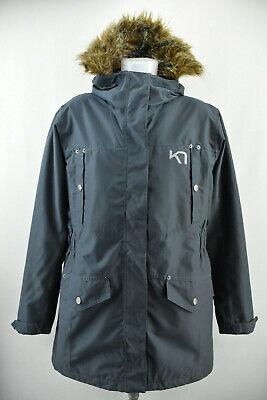KARI TRAA Womens Parka Jacket Grey Outdoor Windproog Hooded Long Coat Size XL