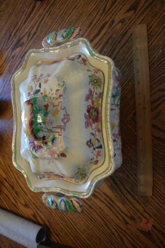 RARE Antique MASONS Fruit Basket Pattern LARGE SOUP Tureen & Lid