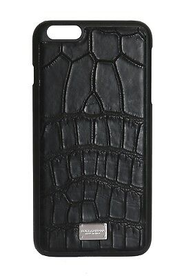 NEW $700 DOLCE & GABBANA Phone Case Black Pattern Leather Logo iPhone6 Plus
