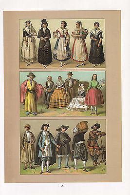 Vintage Mode Kostüm Aufdruck Spanien 1880s Mallorca Bauer Höhere Klasse Labourer (Kostüm Bau Klasse)