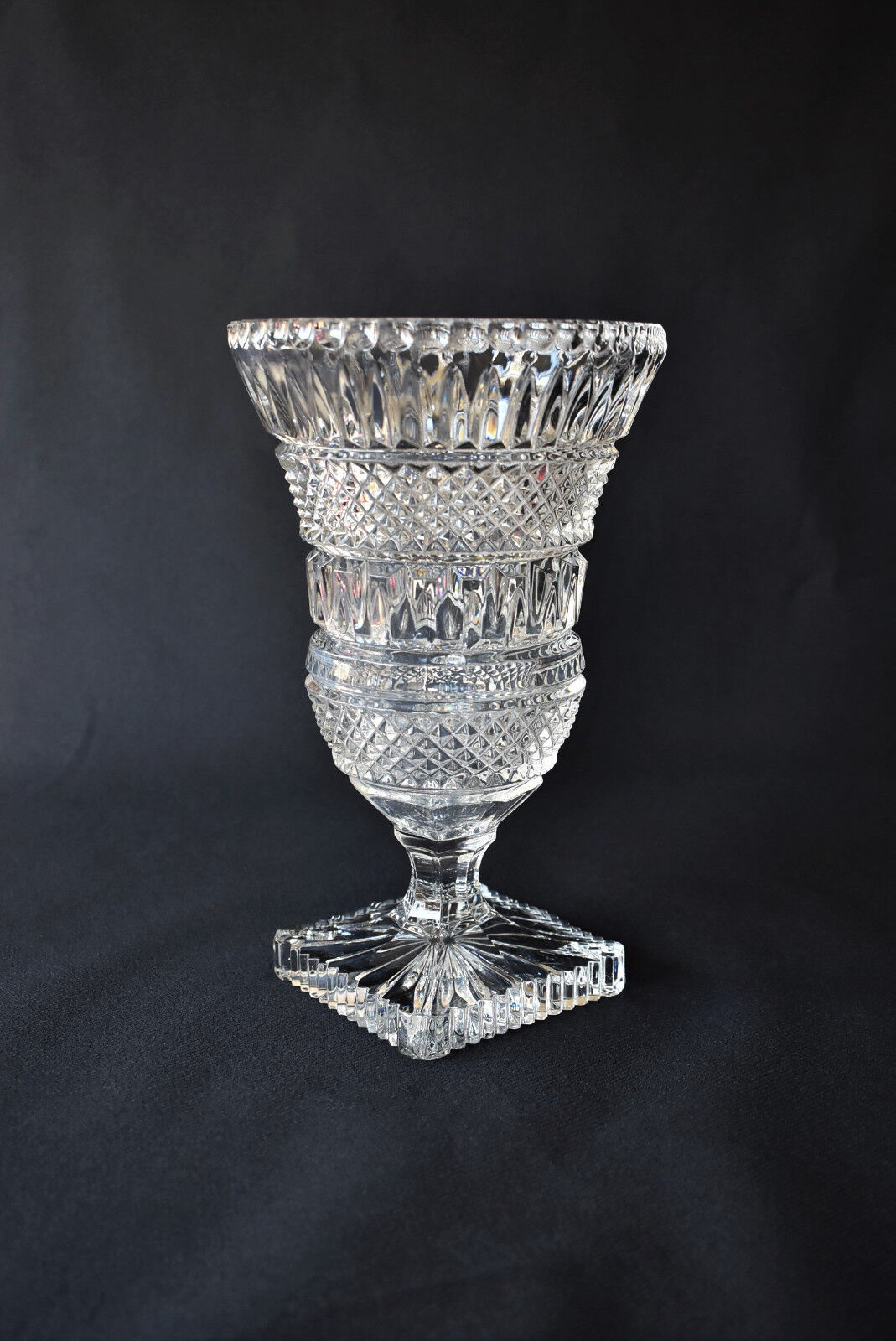 Vintage Bohemian Cut Crystal Glass Footed Vase