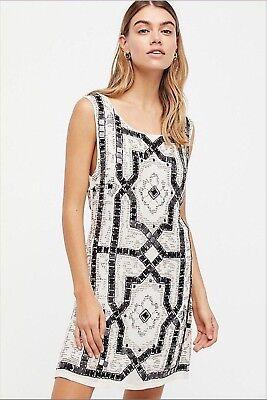 Speakeasy Flapper (FREE PEOPLE SPEAK EASY Ivory FLAPPER SHIFT BEADED Mini Dress Sz 4 $168)