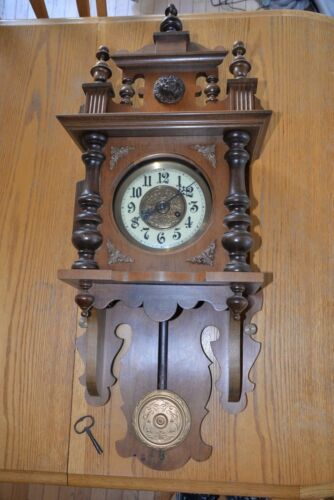 Vintage 1950 or 1960 Wall Wood Clock with key
