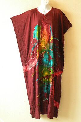 KD255 Batik Floral Women Hippie Caftan Batwing Abaya Dolman Maxi Dress - L to 1X