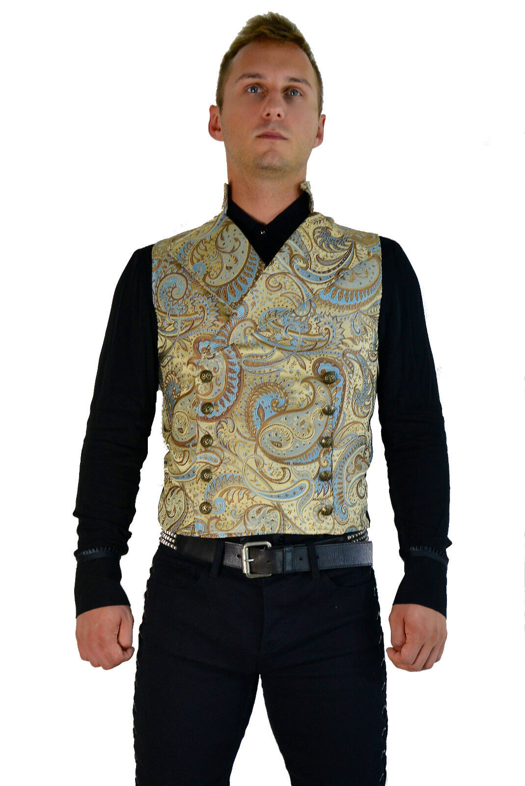 SHRINE GOTHIC VAMPIRE CAVALIER VEST JACKET VICTORIAN BROCADE GOTH STEAMPUNK Clothing, Shoes & Accessories