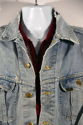 """Vintage Lee Denim Jacket Trucker Grunge Distressed Destroyed Trashed Faded M 44"""", used for sale  Shipping to India"""