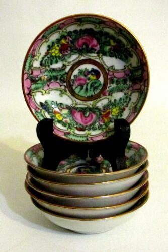 "Vintage ACF Japanese Porcelain Ware Rose Medallion 6 Soy Sauce Bowl Dish 3-7/8"""