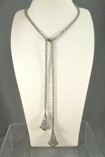 Vintage Silver Tone Wrap Style w Filigree Design SET Necklace Earrings #711