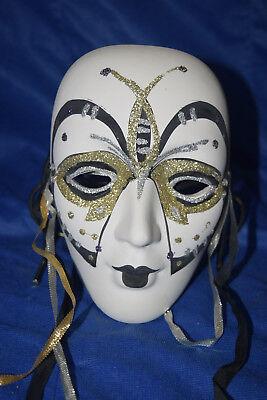 Marti Gras Masks (Marti Gras Mask - Wall Decoration - White Base w/Black Ink & Gold&Silver)