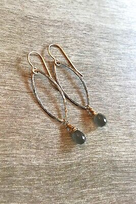 Hammered Sterling Silver & Gold Labradorite Pear Briolette Dangle Drop Earrings