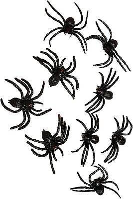 9 große eklige Deko Spinnen 8cm Halloween Spinne schwarz Horror Partydeko