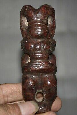 10.5CM Rare Old Chinese Hongshan Culture Jade Carving Helios Sun God Pendant
