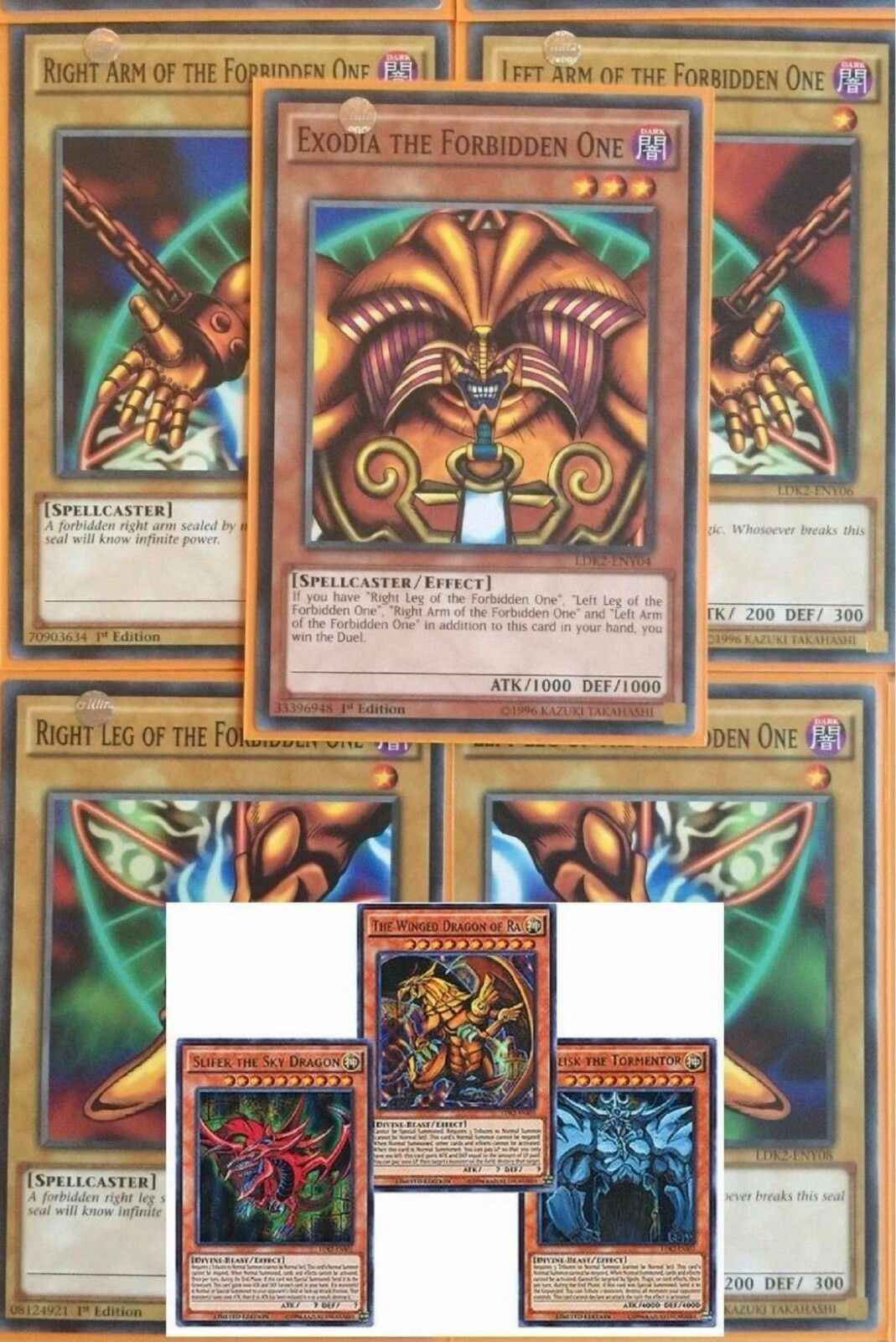 1st Exodia God Cards Obelisk Slifer Winged Ra 8 Card