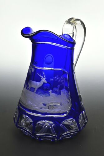 Bohemian Blue Cut Overlay  Glass Pitcher with Deep Engraved Deer Mid 19th Cent