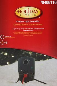 Holiday Living Mechanical 3 Outlet Outdoor Light Controller Stake Timer NIB
