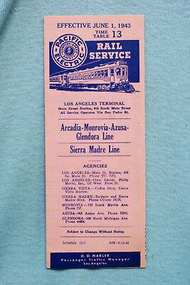 Pacific Electric Pocket Time Table - #13, Arcadia-Monrovia, 6/1/43
